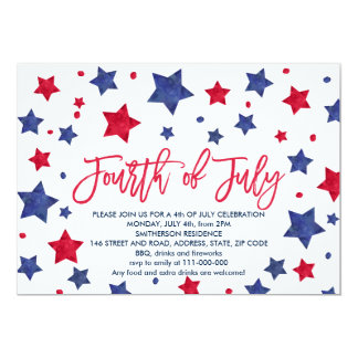 Modern red blue watercolor stars 4th of July Card