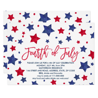 Modern red blue watercolor stars 4th of July Invitation