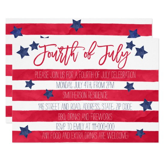 Modern red blue watercolor stripes 4th of July Card