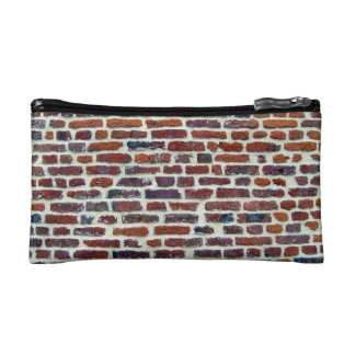 Modern Red Brick Wall And White Line Texture Cosmetic Bags
