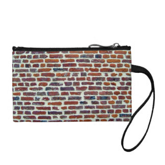 Modern Red Brick Wall And White Line Texture Coin Purse