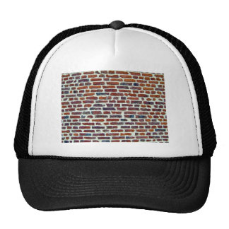 Modern Red Brick Wall And White Line Texture Trucker Hats