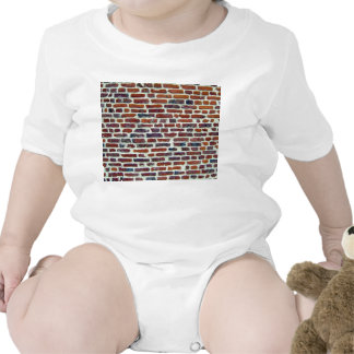 Modern Red Brick Wall And White Line Texture Rompers