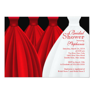 Modern Red Bridesmaids Bride Dress Bridal Shower Card