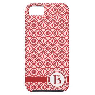 Modern Red Bullseye Monogrammed Designer iPhone SE/5/5s Case
