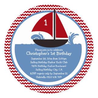 Modern Red Chevron Nautical 1st Birthday Party Card