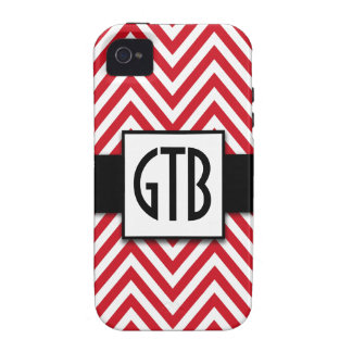MODERN RED CHEVRON THREE INITIALS iPhone 4/4S COVER