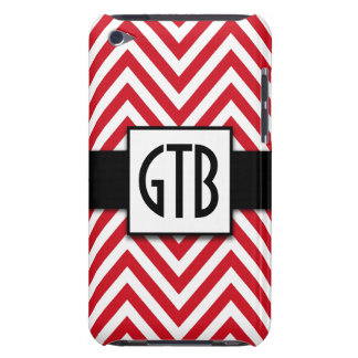 MODERN RED CHEVRON THREE INITIALS MONOGRAM iPod Case-Mate CASE