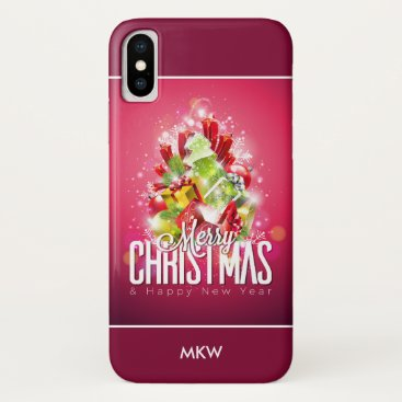 Modern Red Christmas Graphic Illustration iPhone X Case