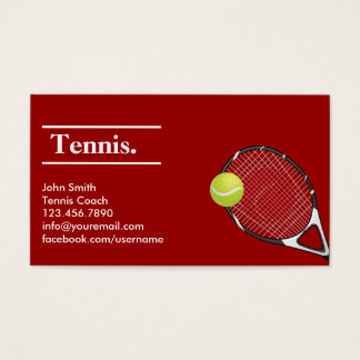 Modern Red Clay Tennis Business Card