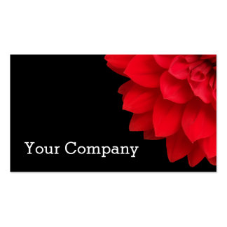 Modern Red Dahlia Flower on Black Business Card