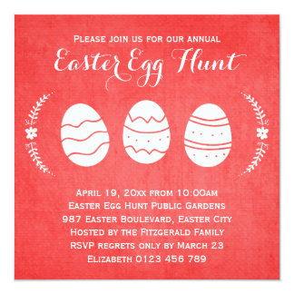 Modern Red Easter Egg Hunt Party Card