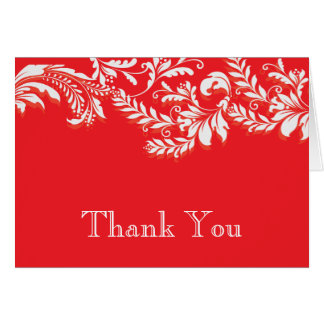 Modern Red Floral Leaf Flourish Thank You Note Greeting Card