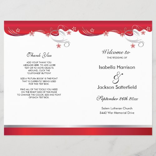 Modern Red Floral Wedding Program