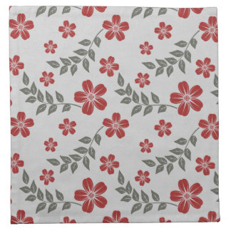 Modern Red Flower and Leaves Floral Pattern Cloth Napkins
