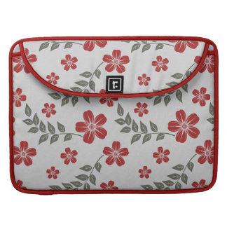 Modern Red Flower and Leaves Floral Pattern Sleeves For MacBook Pro