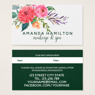 Modern red Flowers Bloom Watercolor Appointment Business Card
