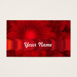 Modern red fractal abstract business card