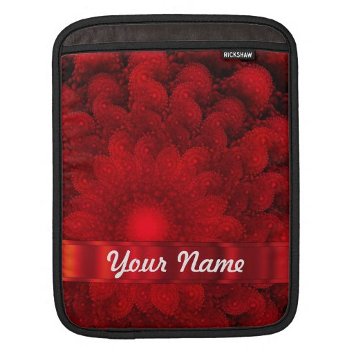 Modern red fractal abstract sleeve for iPads