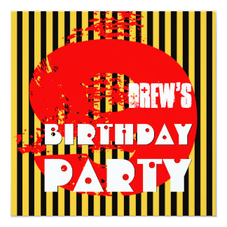"""Modern RED GOLD 9th Birthday Party 9 Year Old V11A 5.25"""" Square Invitation Card"""
