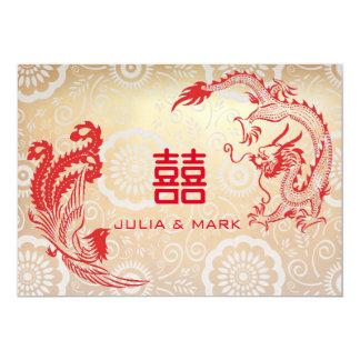 Modern Red Gold Dragon-Phoenix Chinese Wedding Card
