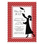 Modern Red Graduation Invitation Silhouette Grad
