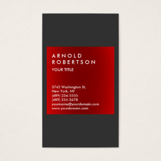 Modern Red Gray Elegant Professional Business Card