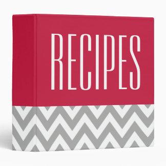 Modern Red Gray Recipe Binder