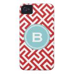 Modern red greek key geometric patterns monogram iPhone 4 Case-Mate case