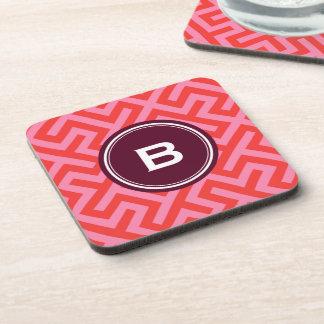 Modern red greek key geometric patterns monogram drink coasters