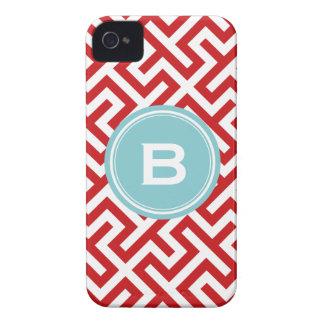 Modern red greek key geometric patterns monogram iPhone 4 case