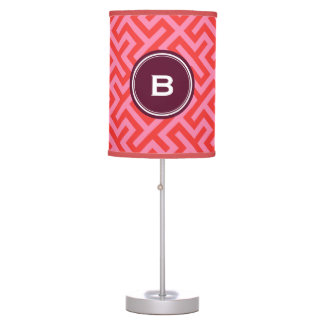 Modern red greek key geometric patterns monogram lamp
