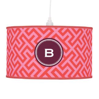 Modern red greek key geometric patterns monogram ceiling lamps