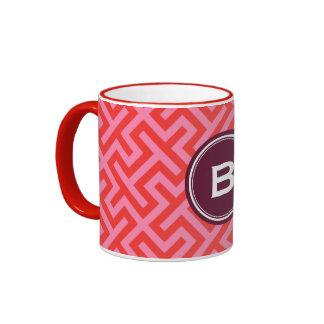 Modern red greek key geometric patterns monogram mug