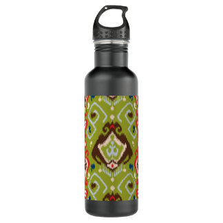 Modern red green brown ikat tribal pattern stainless steel water bottle