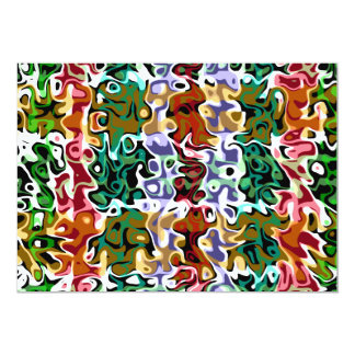 Modern red green brown psychedelic swirls 5x7 paper invitation card