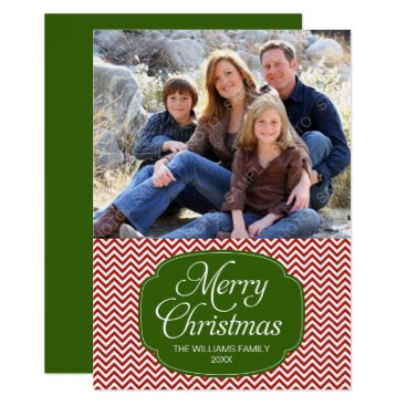 Christmas Themed Modern Red Green Chevron Christmas Photo Card