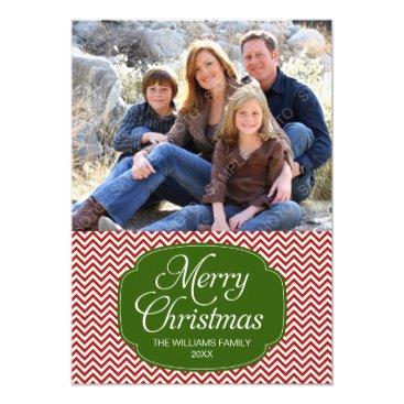 Christmas Themed Modern Red Green Chevron Christmas Photo Card