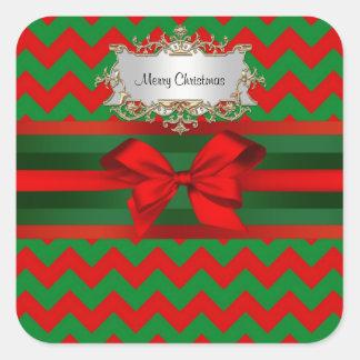 Modern Red Green Chevron Zig-Zag Ribbon Christmas Square Sticker