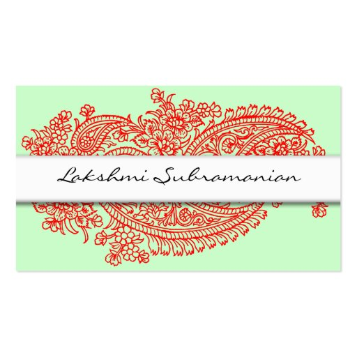 Modern Red India Paisley Business Cards (front side)