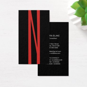Professional Business Modern Red Initial Vertical Business Card