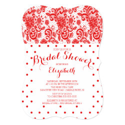 Modern Red Lace Bridal Shower Invitation