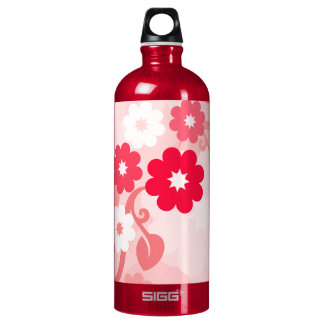 Modern Red Leaf and Flowers Aluminum Water Bottle