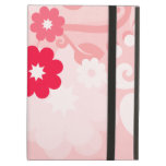 Modern Red Leaf and Flowers iPad Case