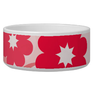 Modern Red Leaf and Flowers Dog Food Bowls