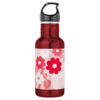 Modern Red Leaf and Flowers Water Bottle