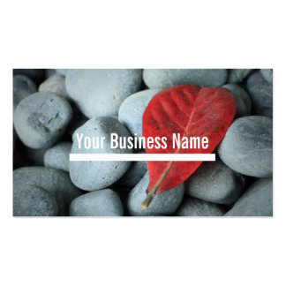 Modern Red Leaf and Stones Business Cards