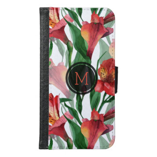 Modern Red Lily Seamless Pattern Samsung Galaxy S6 Wallet Case