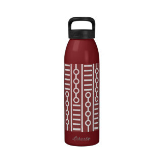 Modern Red Lines And Circles Reusable Water Bottles