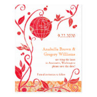 Modern Red Love Birds Save the Date Postcards